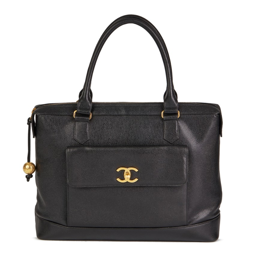 Chanel Vintage Caviar Leather Black Tote Bag