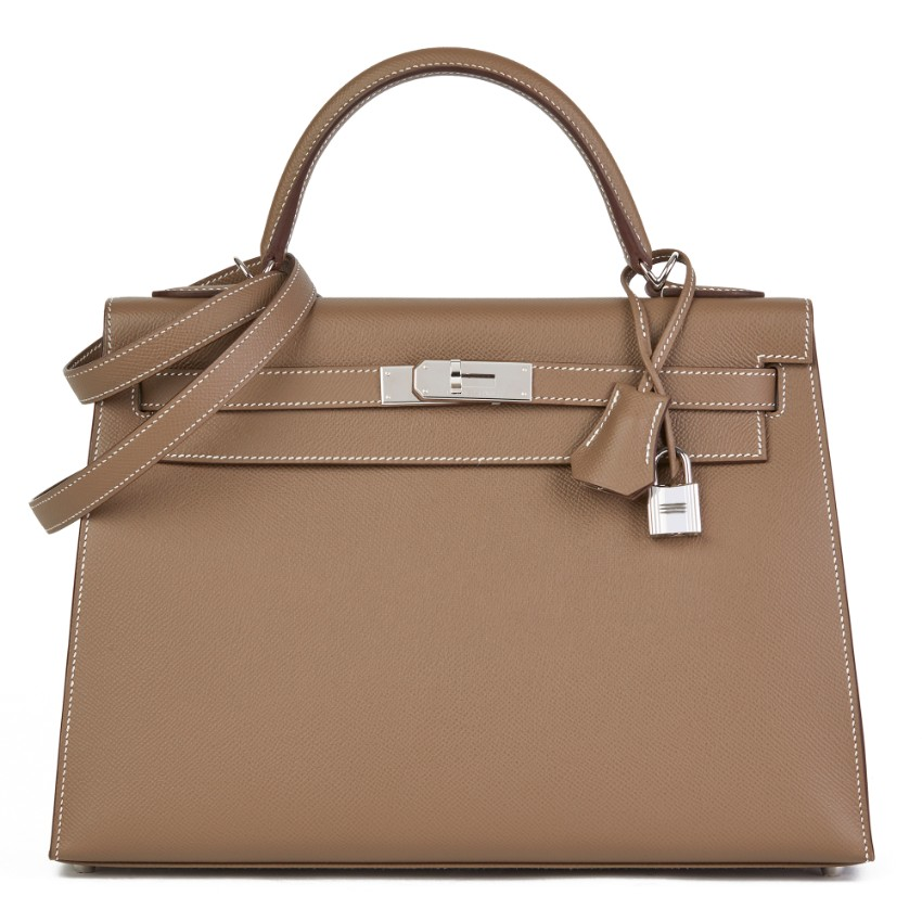 Hermes Epsom Leather Etoupe 32cm Kelly Sellier