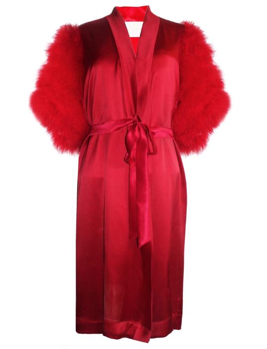 Maguy De Chadirac Red Marabou Feather Kimono