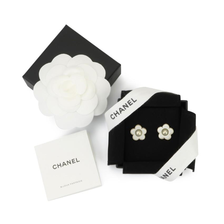 Chanel Gold Tone Camellia Stud Earrings