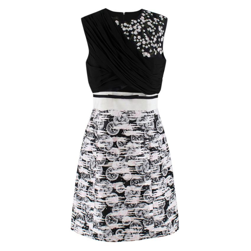 Giambattista Valli Monochrome Embellished Sleeveless Skater Dress