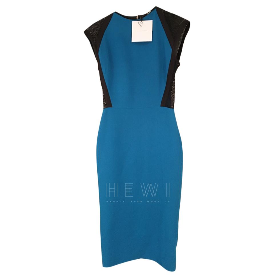 Victoria Beckham Blue & Black Mesh Paneled Dress