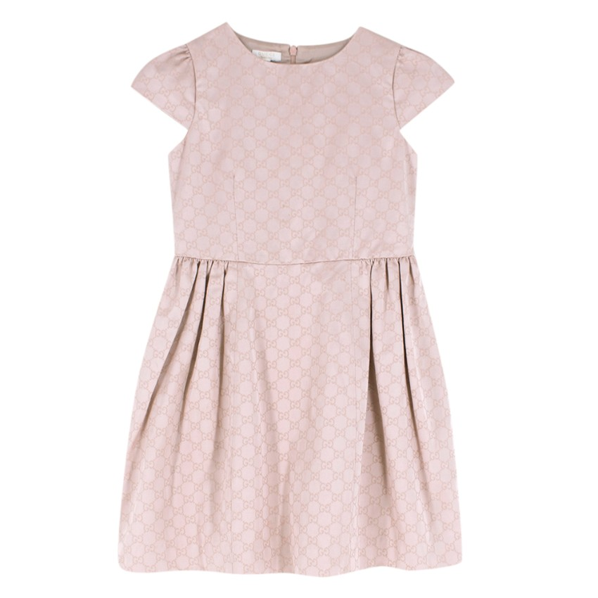 Gucci dusty pink GG embroidered dress
