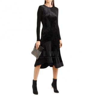 Estaban Cortazar Full Circle stretch knit-paneled velvet dress