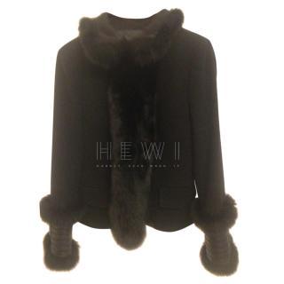 Flavio Castellani cashmere /wool  Arctic Fox Fur Trim Jacket