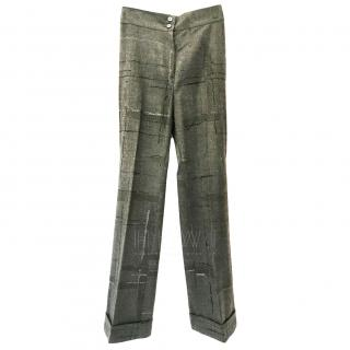 Salvatore Ferragamo Wool Window Pane Check Trousers
