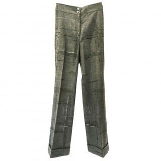 Salvatore Ferragamo Wool Window Pane Check Trousers