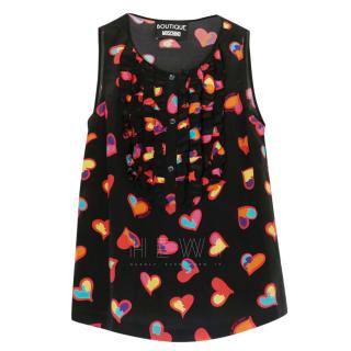 Boutique Moschino Rainbow Heart Print Top