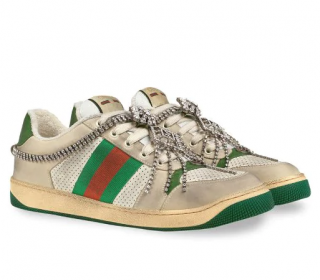 Gucci Neutral Screener Sneaker With Crystals