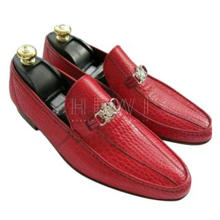 A. Testoni Red Crocodile Loafers