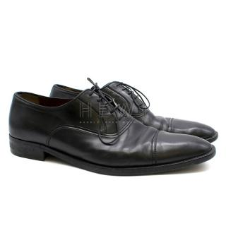 A.Testoni Black Leather Oxfords