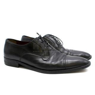 A.Testoni Black Leather Oxfords