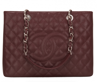 Chanel Burgundy Caviar Leather Grand Shopping Tote