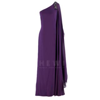Marchesa Notte Purple Embellished One Shoulder Gown