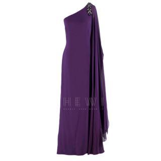 Marchesa Notte Purple Embellished One Shoulder Gown