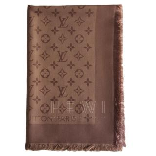 Louis Vuitton Cappucino Silk & Wool Shawl