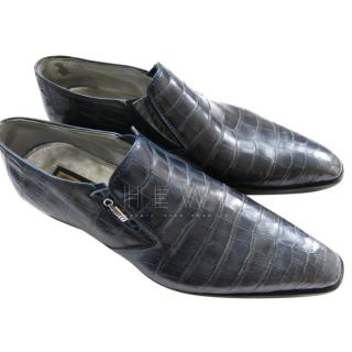 Zilli Navy Crocodile Loafers
