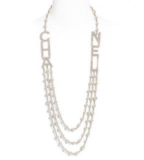 Chanel Letter Logo Pearl Chain Necklace - SS19