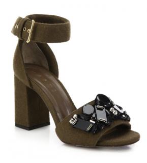 Marni Khaki Felt Embellished Sandals