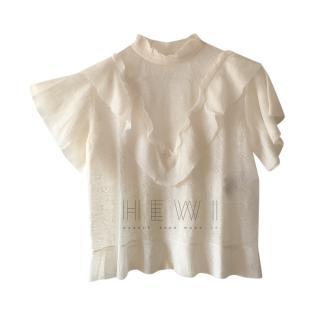 Dior Ivory Sheer Ruffled Top