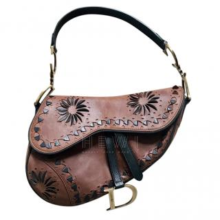 Dior Brown Vintage Laser Cut Floral Saddle Bag