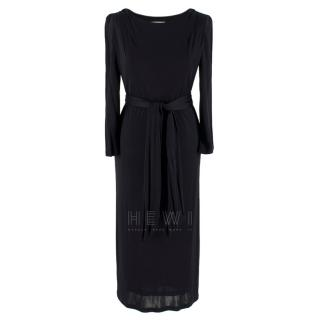 Emilio Pucci Black Jersey Belted Midi Dress