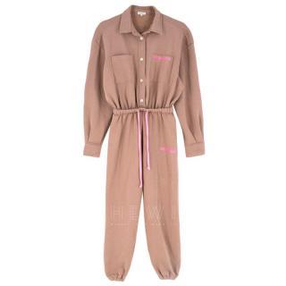 Natasha Zinko Brown & Pink Logo Jersey Jumpsuit