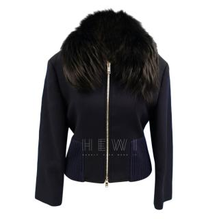 Prada Wool Blend Fur Trimmed Bomber Jacket