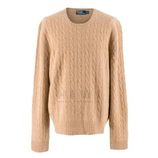 Polo by Ralph Lauren Camel Cable Knit Cashmere Sweater