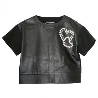 Boutique Moschino Leather & Jersey Embellished Top