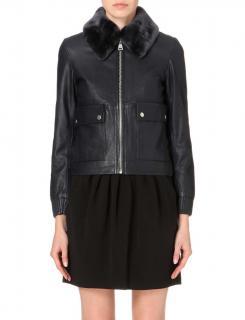 Claudie Pierlot Leather Fur Trim Jacket