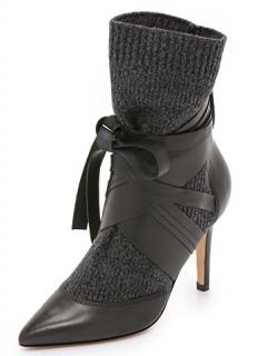 IRO Ribbed Knit Leather Nuria Booties
