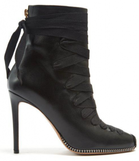 Altuzarra Black Lace-up Leather Ankle Boots