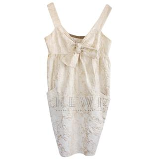 Vera Wang metallic brocade dress