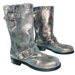 Jimmy Choo Metallic Suede Youth Moto Boots