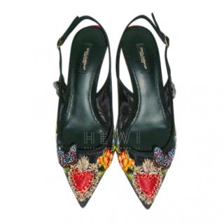 Dolce & Gabbana Black Slingback Embroidered Bellucci Sandals