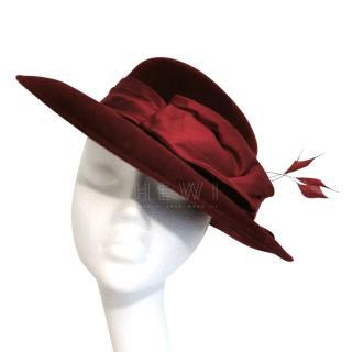 Siggi London Dark Red Silk Hat