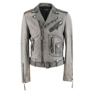 The Kooples Grey Distressed Leather Biker Jacket