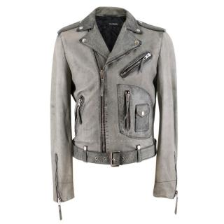 The Kooples Grey Distressed Leather Biker Jacket