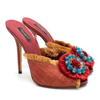 Dolce & Gabbana Red Embellished Fringed Woven Raffia Mules