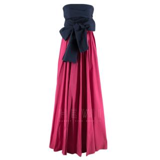 Carolina Herrera Navy & Pink Strapless Bow Tie Gown