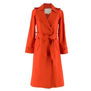 Maje Red Cotton Trench Coat