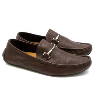 Gucci Brown Men's Grained Leather Loafers