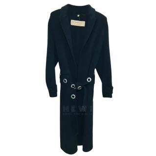 Burberry Black Cashmere Coat W/ Eyelet Embellished Belt