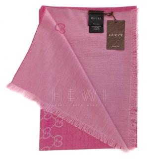 Gucci Pink Wool & Silk Monogram Scarf