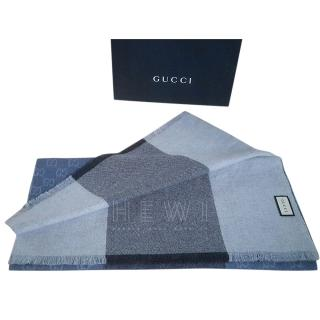 Gucci Blue Colourblock GG Wool Scarf