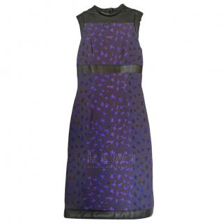 Christopher Kane Purple Printed Leather Trim Dress