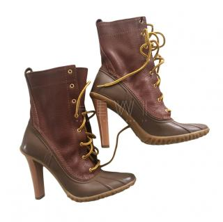 Casadei Leather & Rubber Lace-Up Ankle Boots