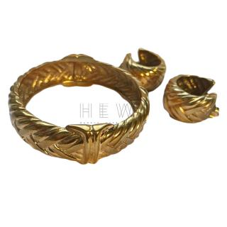 Yves Saint Laurent Vintage Bangle & Earrings Set
