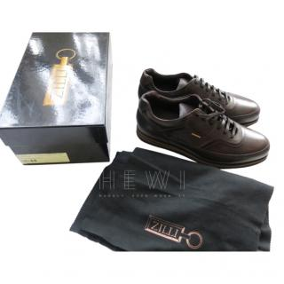 Zilli Brown Leather Men's Sneakers